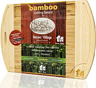 Bamboo Wood Cutting Board - Organic Chopping Board - Cutting Boards For Kitchen - Extra Large Wooden Cutting Boards With Juice Groove - Carving Board For Chopping Vegetables And Meat 18.2
