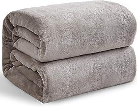 Hansleep beżowy koc pluszowy, 130 x 165 cm, koc polarowy, bardzo miękki i ciepły, narzuta na sofę, pluszowy koc z mikrofib...