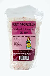 Cheeky Maiden Patchouli & Lavender Bath Salts 100% Natural Handmade with Pink Himalayan Salt Dead Sea Salt Epsom Salt Patchouli and Lavender Essential Oil Lavender Petals 10 oz Made in USA
