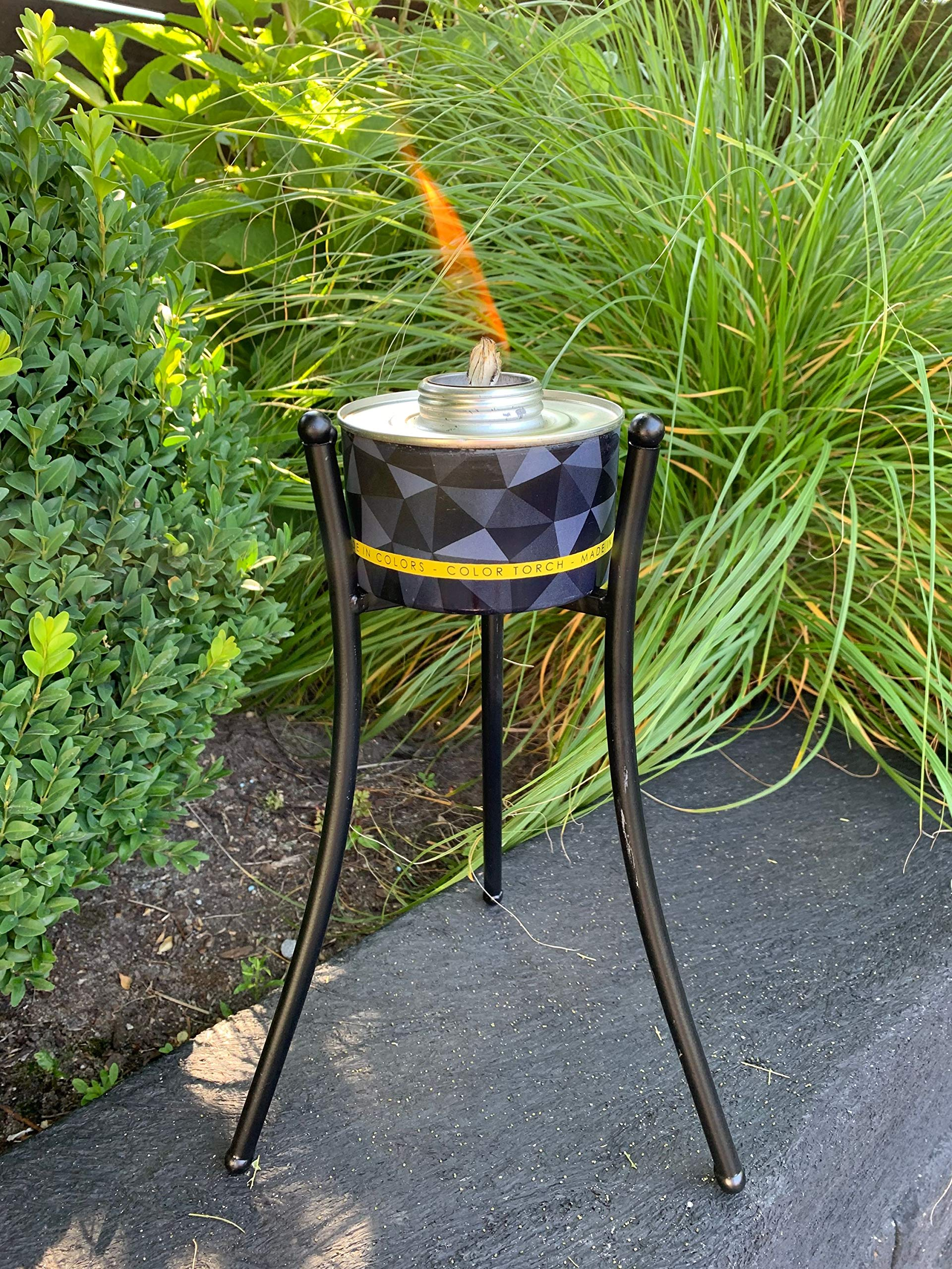 Juego de 4 antorchas de jardín de color Torch, incluye 1 soporte de 3 patas, antorchas de color naranja, amarillo, verde y rojo, sin difusor de aros aromáticos, fabricadas en colores: Amazon.es: Jardín