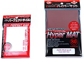 KMC Hyper Mat Sleeve Red (80-Pack) + 100 Pochettes Card Barrier Perfect Size Soft Sleeves Value Set !