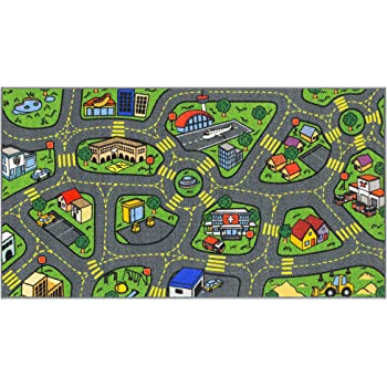 """Jungtier Fun Time Retro City Traffic Car Road Map Educational Learning & Game Area Rug Carpet for Kids and Children Bedrooms and Playroom, 2' 7"""" x 5' 0"""", Multi"""