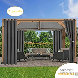 LORDTEX Waterproof Indoor/Outdoor Curtains for Patio - Thermal Insulated, Sun Blocking Blackout Curtains for Bedroom, Porch, Living Room, Pergola, Cabana, 52 x 84 inch, Dark Grey, Set of 2 Panels