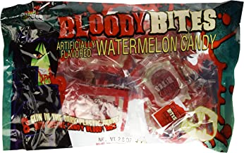 Bloody Bites Oozing Candy Blood Bags with Glow in the Dark Fangs Watermellon Flavor   1 Bag of 8 Packs