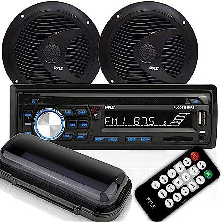"Marine Stereo Receiver Speaker Kit - In-Dash LCD Digital Console Built-in Bluetooth & Microphone 6.5"" Waterproof Speakers (2) w/ MP3/USB/SD/AUX/FM Radio Reader & Remote Control - Pyle PLCDBT75MRB"