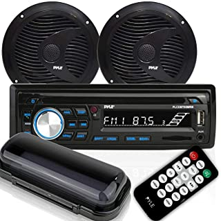 Pyle Bluetooth Marine Stereo Receiver & Waterproof Speaker Kit, Hands-Free Talking, CD Player, AM/FM Radio, MP3/USB/SD/AU...