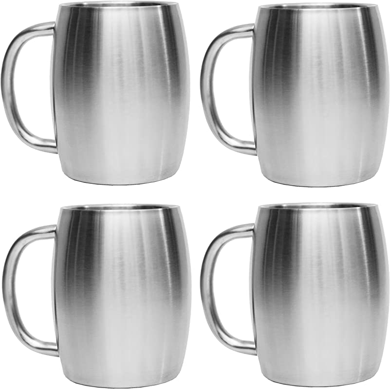 Avito Stainless Steel Coffee Mugs 14 Oz Double Walled Insulated Coffee Beer Mugs Set Of 4 By Best Value BPA Free Healthy Choice Shatterproof And Spill Resistant Thermal Cups