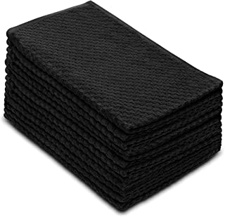 Cotton Craft - 12 Pack - Euro Cafe Waffle Weave Terry Kitchen Towels - 16x28 Inches -Black - 400 GSM Quality - 100% Ringspun 2 Ply Cotton - Highly Absorbent Low Lint - Multi Purpose
