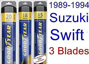 1989-1994 Suzuki Swift Replacement Wiper Blade Set/Kit (Set of 3 Blades) (Goodyear Wiper Blades-Assurance) (1990,1991,1992,1993)