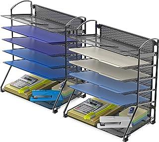 2 Pack - Simple Houseware 6 Trays Desktop Document Letter Tray Organizer, Black