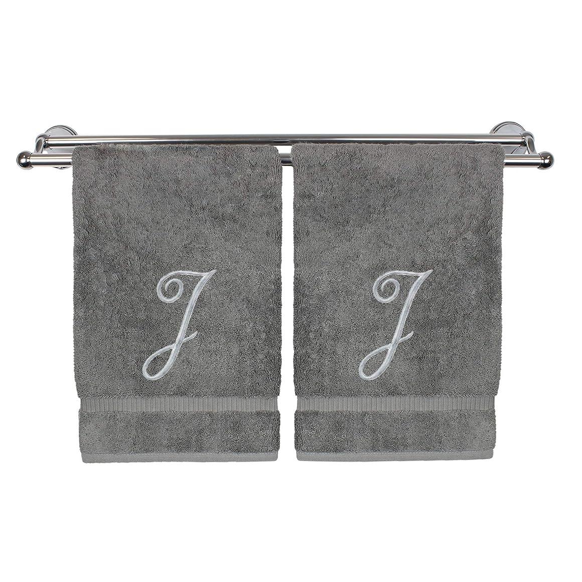 アヒルミッションプラカード刺繍Washcloth、パーソナライズされたギフト、13?x 13インチ?–?のセット2?–?グレー 2 Washcloths-Silver Script Initial J グレー 85-710-893-111