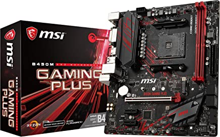 MSI Performance Gaming AMD Ryzen 1st and 2nd Gen AM4 M.2 USB 3 DDR4 DVI HDMI Micro-ATX Motherboard (B450M Gaming Plus)