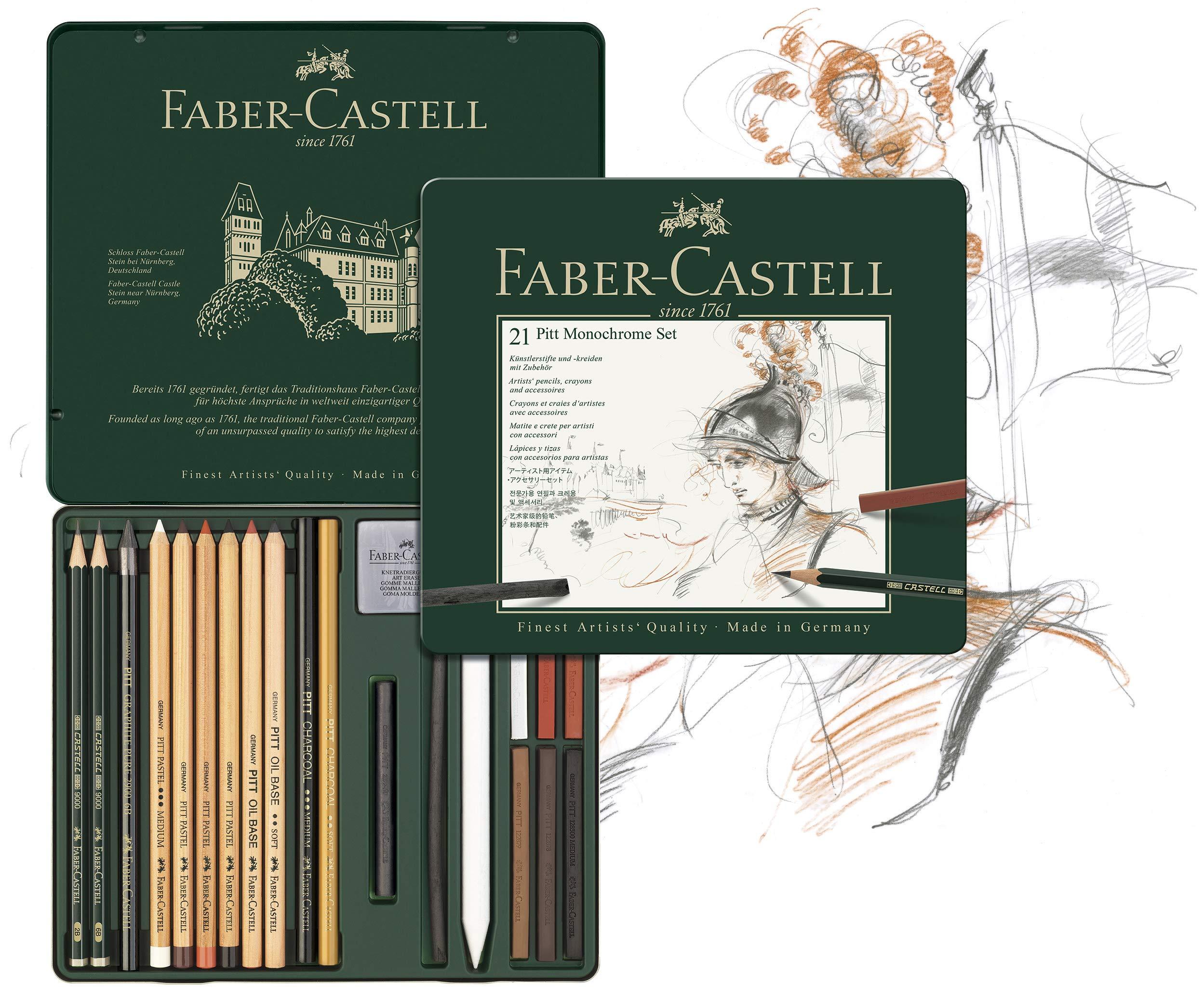 Faber-Castell 112976 - Estuche de metal con 21 piezas, surtido de carbonos, grafitos, ecolápices y tizas: Amazon.es: Oficina y papelería