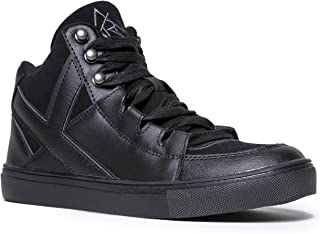 YRU Casual Sneaker Lace Up – Women's Qozmo Chill – Fashion High Top Trainer – Comfortable Lightweight Athletic Sport Shoe,Black,7 B(M) US