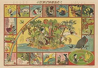 大正8年 少女の友 川端龍子画「友子の空想旅行双六」原寸複製 780㍉×546㍉
