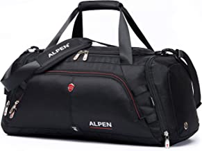 Swiss Alpen - Cervino Duffel - Water Resistant Durable 1680D Carry On Travel Duffel Bag Gym Sports Bag with Shoes Compartment - 10.5 Gallons - 40 Liters - Black Exclusive