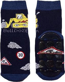 Weri Spezials Bebes et Enfants ABS Eponge Bulldozer Pantoufle Chaussons Chaussettes Antiderapants Marine
