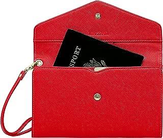 Krosslon Travel Passport Holder Wallet for Women RFID Blocking Document Organizer Tri-fold Wristlet Bag, 11# Agate Red