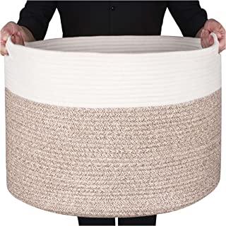 "MINTWOOD Design XXXL Extra Large 22"" X 22"" X 14"" Decorative Woven Cotton Rope Basket, Laundry Basket, Blanket Basket, Baby..."