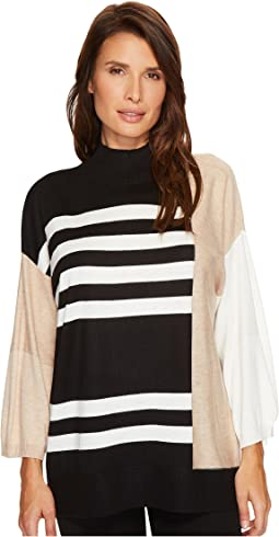 Vince Camuto - Drop Shoulder Color Blocked Turtleneck Sweater