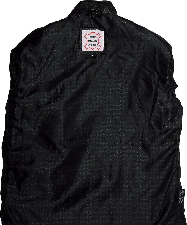 QAWACH Leather Men's Leather Jacket M Black