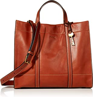 Fossil Carmen Leather 30.81 cms Cognac Gym Tote (ZB7938213)