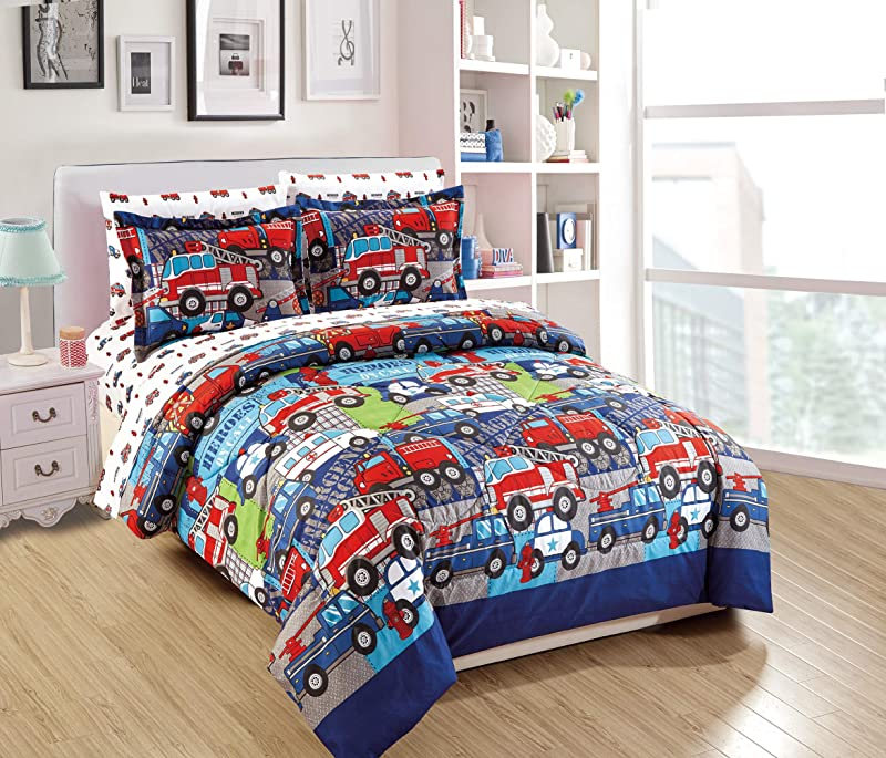 Queen Size 7pc Comforter Set For Kids Heroes Fire Fighter Fire Trucks Police Car Ambulance Paramedic Navy Blue Red White Light Blue Grey Green New