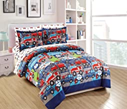 Fancy Linen 5pc Twin Comforter Set Police Car Fire Truck Ambulance Heroes Blue Red Green Grey White New