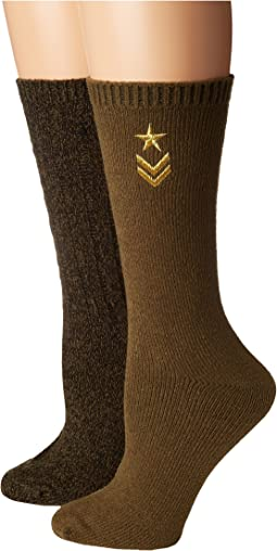 2-Pack Military Boot Sock with Star Embroidery