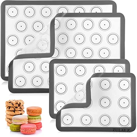 Baking QAQGEAR 4 Pack Silicone Baking Mats Bundle Non-Stick Heat-Resistant Macaron Pastry Mats with Silicone Brush and Silicone Muffin Cake Mold Cupcake Pan for Cooking