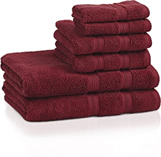 Superior 100% Cotton Smart Dry Zero Twist 6-piece towel set, Incredibly Soft, Highly Absorbent, Quick Drying Towels, 2 Bath Towels, 2 Hand Towels, 2 Wash Cloths, Crimson