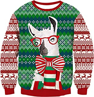 RAISEVERN Unisex's Ugly Christmas Sweater Funny Xmas Sweater Tops Long Sleeve Knitted Pullover