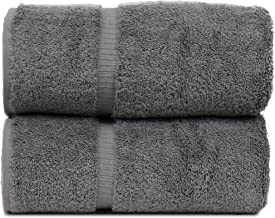 BC BARE COTTON Luxury Hotel & Spa Towel Turkish Cotton Bath Towels - Gray - Dobby Border - Set of 2