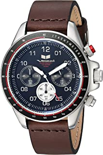 Vestal 'ZR2' Quartz Stainless Steel and Leather Casual Watch, Color:Brown (Model: ZR243L20.DB)