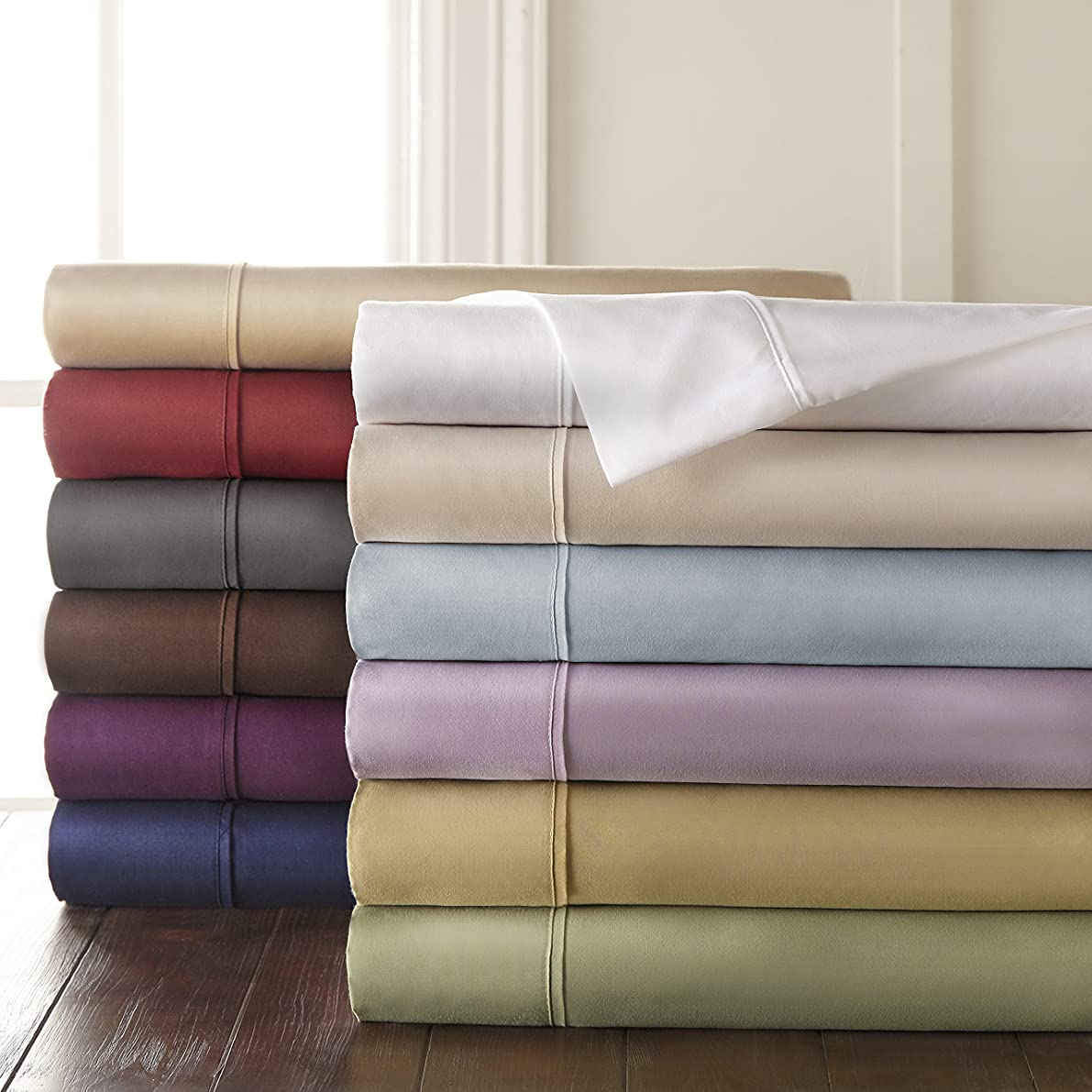 HC Collection 1500 Thread Count Egyptian Quality 2pc Set of Pillow Cases, Silky Soft & Wrinkle Free (ALL COLORS/SIZES)-King Size, White