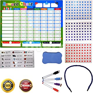 B-FINE Magnetic Reward Chart Set - Daily Routine Responsibility Chore Chart for Kids with 15 Magnetic Chores, 210 Magnetic Stars & 4 Color Dry Erase Markers! (16 x 12)