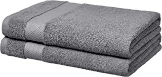 AmazonBasics Performance Bath Towels, Set of 2, Iron Grey