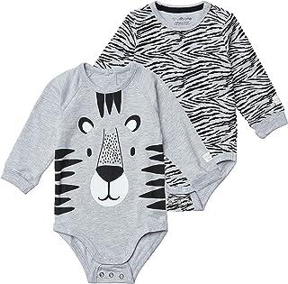 Tiny One Lot de 2 bodies à manches longues pour bébé - En coton biologique certifié GOTS - Imprimé gris mélangé