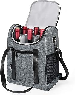Tirrinia 6 Bottle Wine cooler bag - Insulated & Padded Versatile Wine Carrier Tote Bag for Travel, BYOB Restaurant, Wine Tasting, Party, Christmas Gift for Wine Lover, Grey