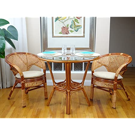 Pelangi Rattan Wicker Dining Set of Round Table Glass Top White Wash 2 Arm Chairs