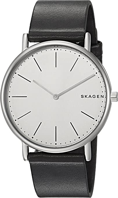 Skagen Men's Signatur Titanium Analog-Quartz Watch with Leather Calfskin Strap, Black, 20 (Model: SKW6419)