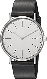 Skagen Signature Black Titanium & Leather Watch SKW6419