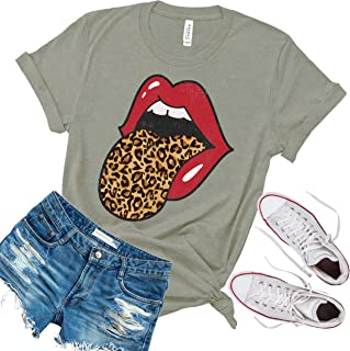 Asher's Apparel Red Lips Leopard Distressed Print Tongue T-Shirt | Cheetah Animal Print Trendy Graphic Tee | Unisex Sizing