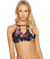 Splendid - Electric Bloom Reversible High Neck Bikini Top
