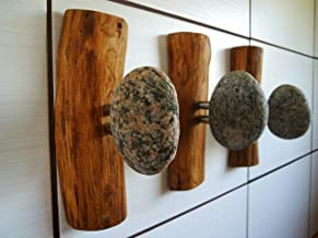 3 pcs Stone Hanges, Coat Rack with natural Beach STONES, Rock towel hangers, Towel hooks, Beach Stone robe Hook, Wall mounted solid wood coat rack