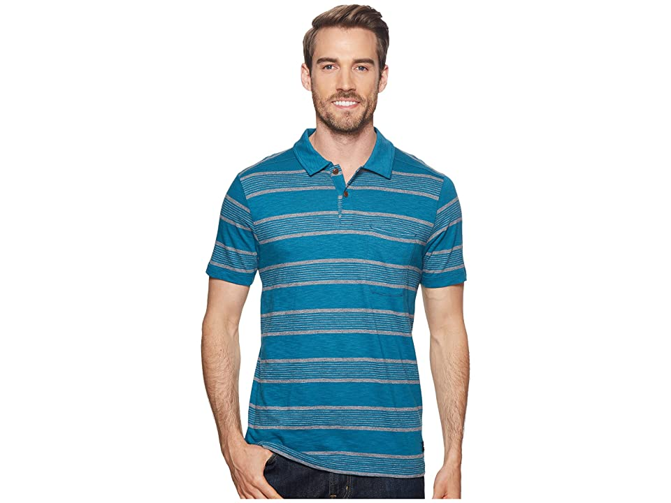 The North Face Short Sleeve Cool Canyon Polo (Blue Coral Stripe) Men