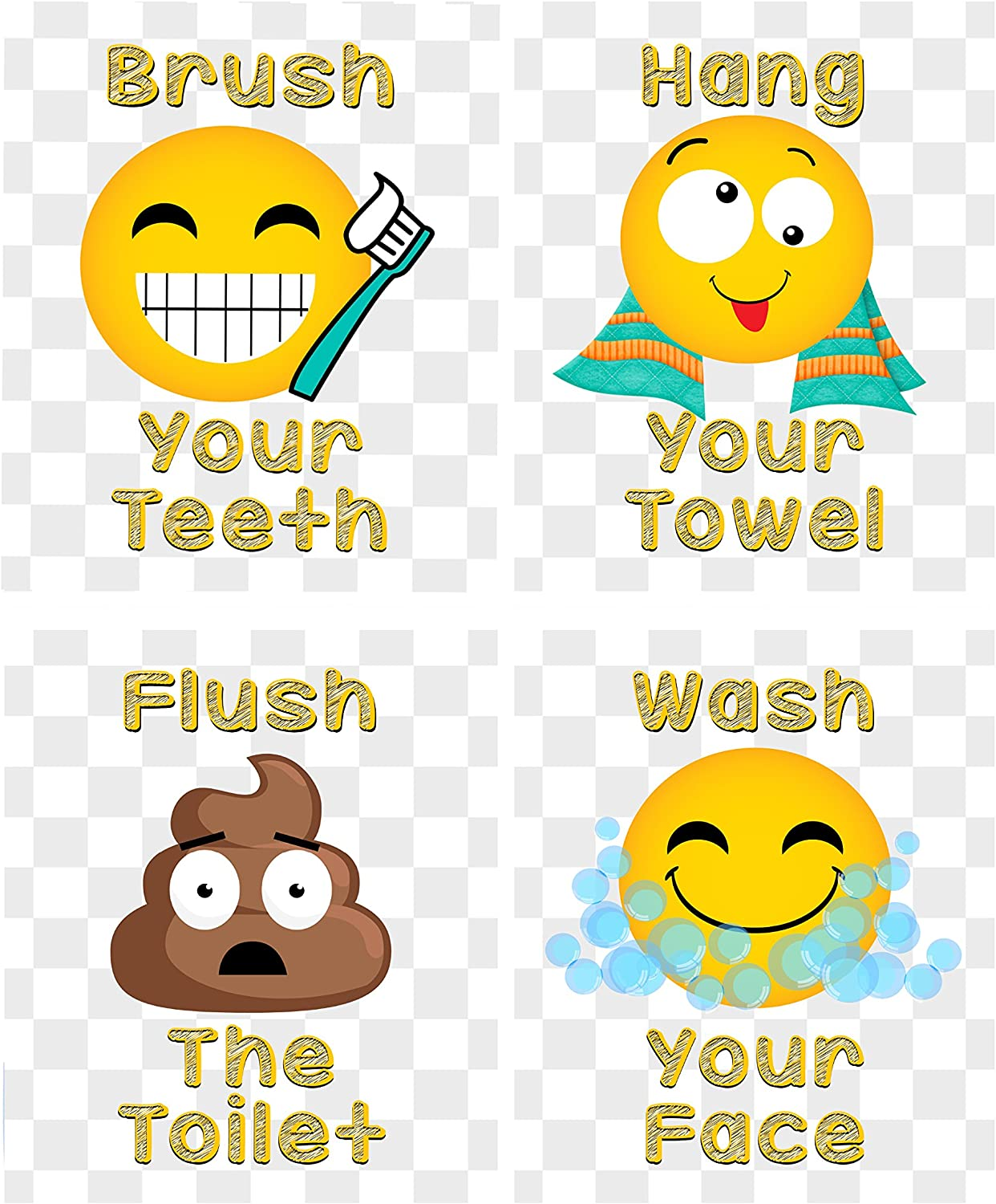 Faces Brush Teeth Hang Towel Wash Hands Bathroom Wall Art Decor (Set of Four) Happy Silly Poop