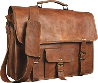 CL Leather Genuine Men's Auth Real Leather Messenger Laptop Briefcase Satchel Mens Bag (15 INCH) Brown