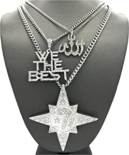 Mens Muslim Islam Moon 7 Star Five Percenter, Allah, WE The Best Pendant Cuban Chain Necklace Set