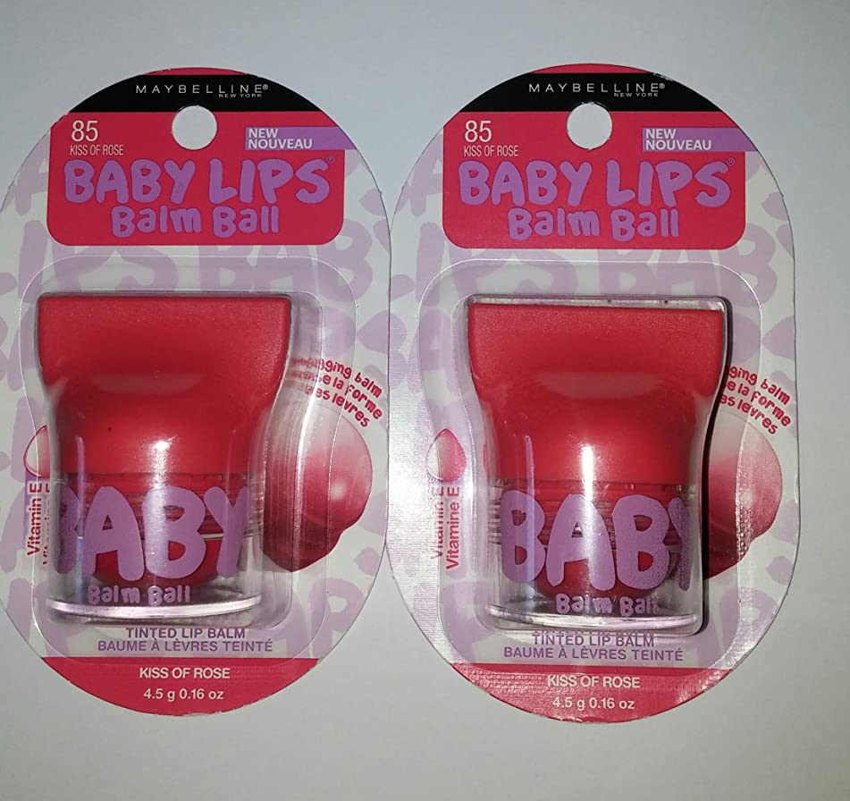 Maybelline Baby Lips Balm Ball KISS OF ROSE 85 (Pack of 2)